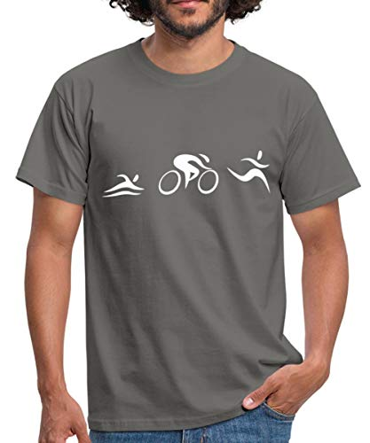 Triathlon Piktogramme Schwimmer Radfahrer Läufer Männer T-Shirt, M, Graphit