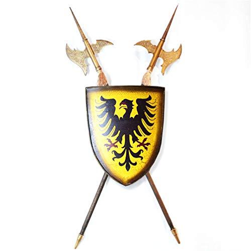 JYJTLHS Fraai schild muur kunst collectie, moderne middeleeuwse Rampant geloof schild met bloem bijl muur plaque beeldhouwwerk, vintage metalen ijzeren geloof schild en Eagle Logo muurdecoratie