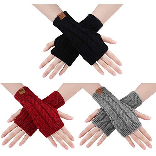 ECOMBOS Damen Fingerlose Handschuhe - Winter Armstulpen Handschuhe Damen Pulswärmer Strick Kurzer Gestrickte Halb Fingerlose Fäustlinge (Farbe-B)