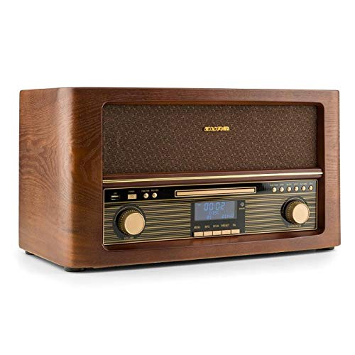 auna Belle Epoque 1906 Stereoanlage - Retroanlage, Digitalradio, UKW und DAB+, Bluetooth, Fernbedienung, USB, Digitalisierungsfunktion, braun