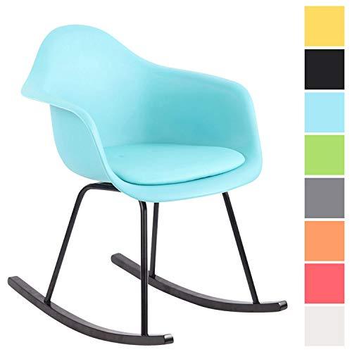 Schaukelstuhl Merry mit Kunststoffsitz I Schaukelsessel mit Kunstlederbezug I Relaxsessel mit Holzkufen, Farbe:blau