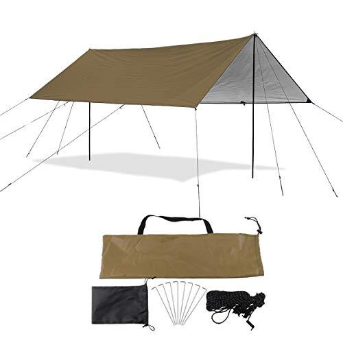 Sutekus Camping Tarp Rain Fly Tarp Waterproof Tent Tarp Lightweight Ripstop Fabric 12FT Extra Large Tarp (Khaki)