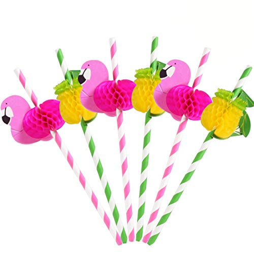 50 Piece Paper Straws 3D Decoration Pink Striped Degradable Straw Pink Green for Summer Vacation Party (Flamingo + Pineapple Design, 50)