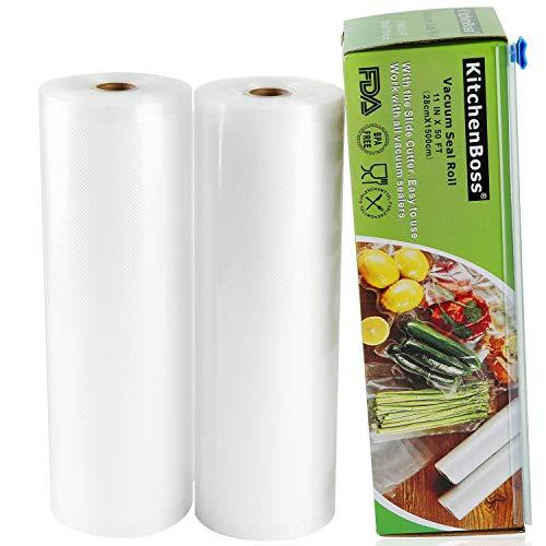 KitchenBoss Vakuumrollen mit Cutter-Box, 2 Rollen 28x1500cm Folienrollen BPA-Frei für alle Vakuumierer, stark & reißfest & wiederverwendbar Vakuumbeutel für Sous Vide