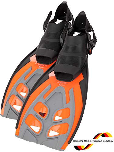 Khroom® verstellbare Flossen Schnorchelflossen für Erwachsene zum Schnorcheln | Taucherflossen, Schwimmflossen (Orange, 42-47)