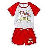 Conjuntos para Niña Verano Manga Corta Unicornio Camiseta y Pantalones Cortos Dos Piezas Ropa de Deporte/120