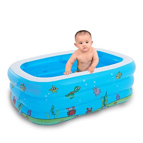 HTHJA Piscina Hinchable Familiar Swim Center,Piscina para niños Gruesa Resistente al Desgaste, Piscina Inflable Estampada en Azul y Blanco,Piscina Hinchable Familiar PVC Ecológico
