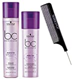 Schwarzköpf BC Bonacure Hairtherapy KERATIN SMOOTH PERFECT Micellar Shampoo & Conditioner Duo Set for Thick, Unruly, Coarse Hair (w/Sleek Comb) Frizzy, Wavy, Curly Hair (8.5 oz + 6.8 oz DUO KIT)