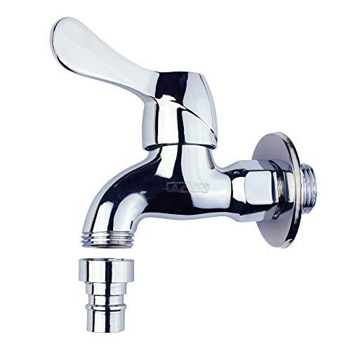 """Lazardo - 1/2"""" Wasserhahn aus Messing - Chrom mit Wasserhahn - Wasser Hahn mit Regler"""