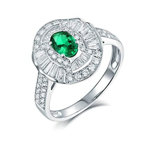 Beydodo Anillo de Compromiso Para Mujer,Anillos de Mujer de Oro Blanco 18K Plata Verde Oval Esmeralda Verde 0.5ct Diamante 0.95ct Talla 23,5(Circuferencia 63MM)