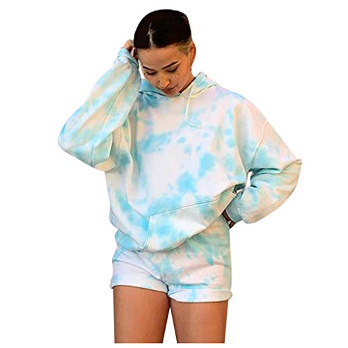 Women Hoodies Tops Fashion Tie Dye Printed Long Sleeve Pullover Casual Drawstring Hooded Sweatshirt with Pocket