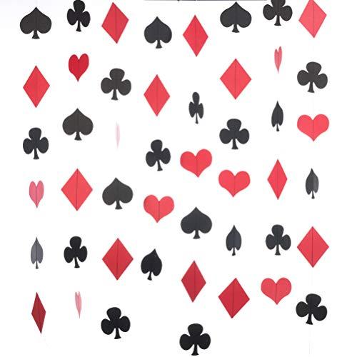 MOWO Casino Paper Garland Las Vegas Theme Party Hanging Decoration,3'' in Diameter,10-feet (Black,red,2pc)