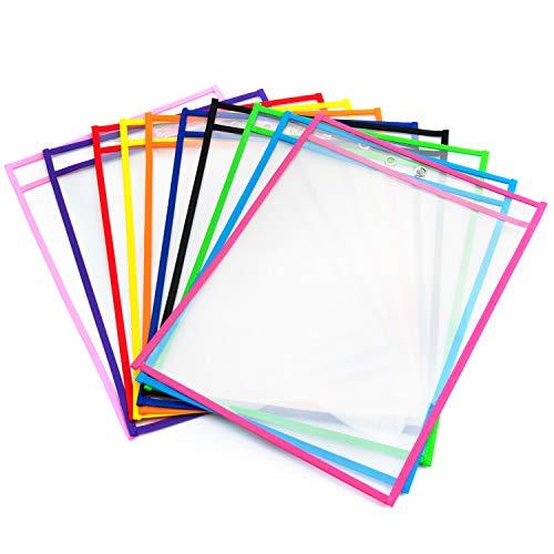 Abwischbare Durchsichtige Hüllen, Vordas 10 Stück Reusable Dry Erase Pockets Schreibwaren Lieferungen für Büro und Schule, 35.5×25.5 cm