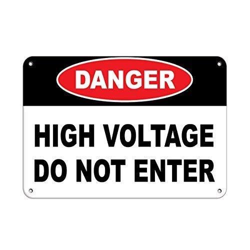 Señal de advertencia Peligro Alto voltaje No entrar Señal de peligro Etiquetas de peligro Señal de tráfico Señal comercial 8 X 12 pulgadas Cartel de chapa de aluminio y metal