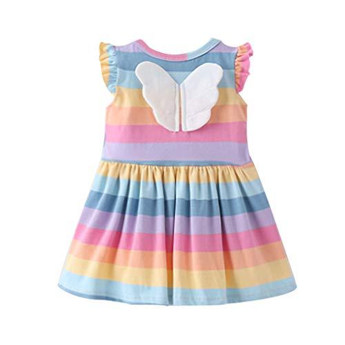 LANSKIRT Vestido Bebé Recién Nacido Niñas (1 Año-4 Años) Vestido de ala con Estampado de Rayas Arcoíris de Manga Corta para Niños Hermana