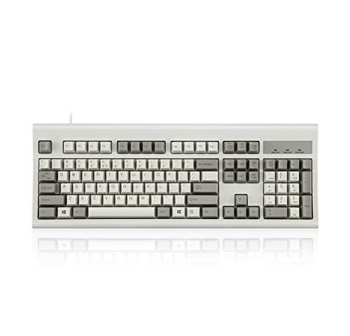 Perixx PERIBOARD-106M, Wired Performance Full-Size USB Keyboard, Curved Ergonomic Keys, Classic Retro Gray/White Color, US English Layout