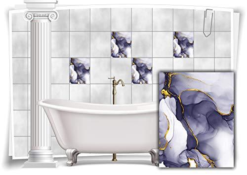 Medianlux Adhesivo decorativo para azulejos, mármol, óleo, pintura abstracta, baño dorado y gris, 12 unidades, 15 x 20 cm m23m11h-136861