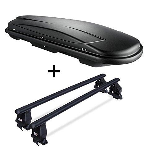 VDP Dachbox JUXT400 schwarz 400 Ltr abschließbar + Dachträger Menabo Tema kompatibel mit FIAT 500L Trekking (Schrägheck 5 Türer) ab 2013 Stahl