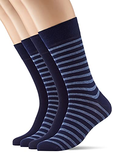 ESPRIT Herren Fine Stripe 2-Pack M SO Socken, Blau (Marine 6120), 43-46 (2er Pack)