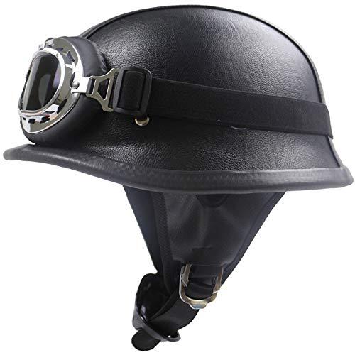 Nuevo casco retro,casco forrado en piel,certificación DOT,casco punk,casco de seguridad con hebilla...