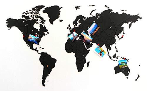 MiMi Innovations - Lussuoso True Puzzle Mappa del Mondo in Legno 100 x 60 cm - Nero