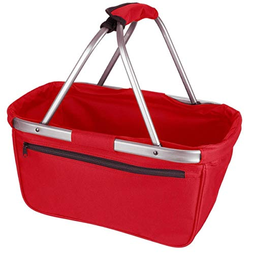 Einkaufskorb faltbar aus Stoff toll als Faltkorb Einkaufstasche oder Picknickkorb - Rot