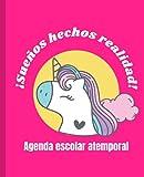 Agenda escolar atemporal: de unicornio para niños de 5-10 años