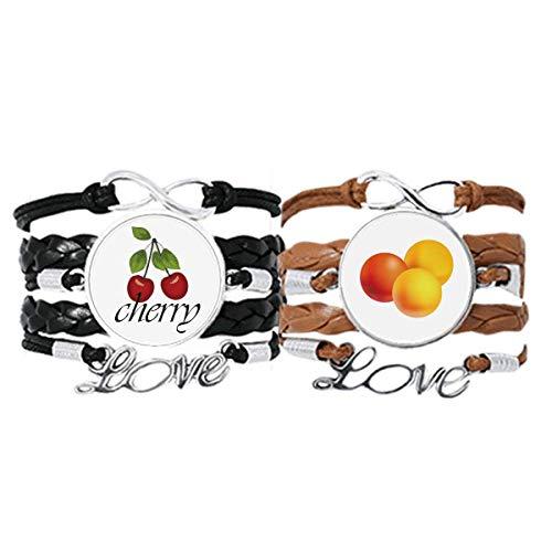 Bestchong Orange Pill Gesundheits-Produkte Muster Armband Handschlaufe Leder Seil Cherry Love Armband Doppelset