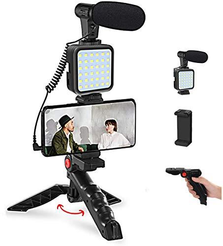 Tuo3eu Smartphone Video Kit, Kit de Vlogger de Vídeo Micrófono con luz LED, Soporte para teléfono, trípode Compatible con y iPhone, Huawei, Android etc., para Youtube, TIK Tok, Filmación, Vlogging