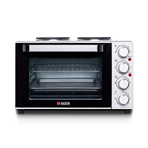 Haden Mini Oven – Stainless Steel Table Top Mini Oven with Two Hot Plates and Grill, 25 Litre, White ca38