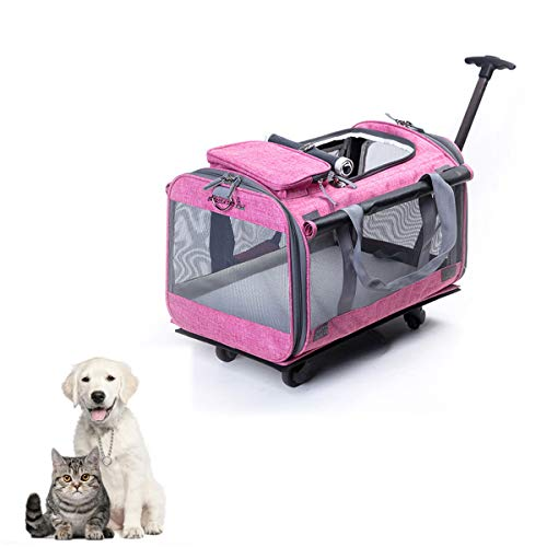 Tineer Multifuncional Bolso Pet Dog Carrier Stroller con Ruedas extraíbles, Pet Travel Carrier Mochila para Perros/Gatos de hasta 22 LB Uso en Exteriores (Rosado)