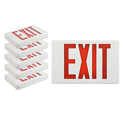 SPECTSUN Led Exit Sign with Battery Backup, Hradwired Red Exit Light LED - 6 Pack, Exit Sign Battery/Business Exit Sign Stencils/Exit Combo Light/Lighted Exit Signs/Emergency Exit Light