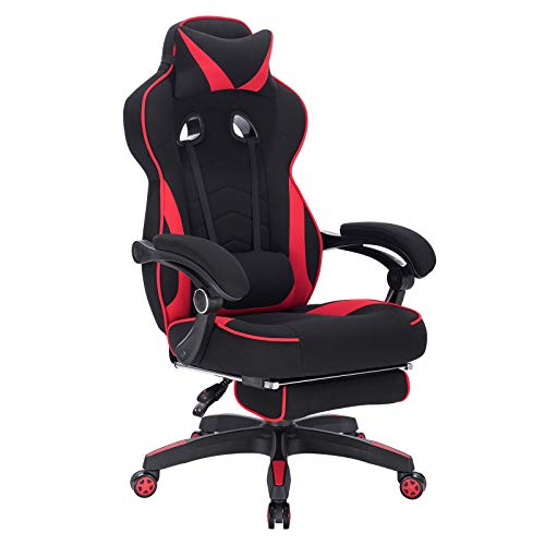 WOLTU Gaming Stuhl Racing Stuhl Bürostuhl Chefsessel Schreibtischstuhl Sportsitz mit Kopfstütze und Lendenkissen, mit Fußstütze, Stoff, höhenverstellbar, Rot, BS83rt