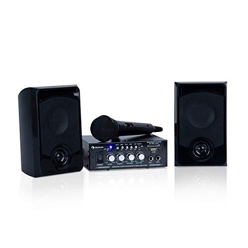 Auna Karaoke Star 1 Karaoke-Set - Sistema Karaoke, Impianto Karaoke, 2 x 50 W Max, Bluetooth, Ingresso USB e Slot SD, Compresi Microfoni e Cavi per Altoparltanti, Colore Nero