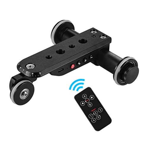 ZC Dawn 3-Wheels Video Wirelesss Fotocamera Auto Dolly, Motori Elettrici Binario Slider Dolly Auto con Telecomando, 5 velocità Regolabile per DSLR Videocamera Portatile Android iOS Phone,Nero