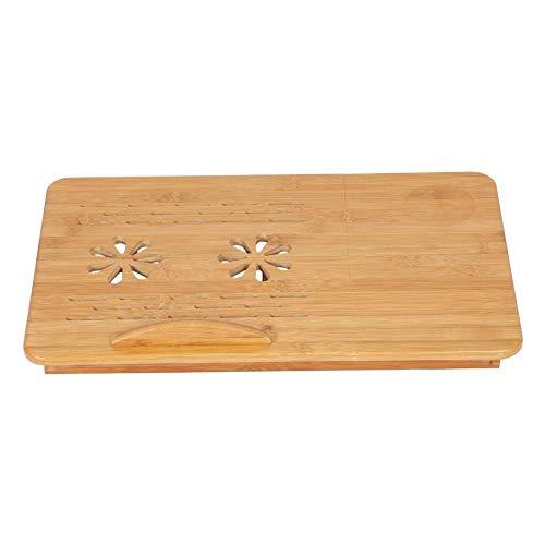 Escritorio para computadora portátil, bandeja de cama ajustable de bambú para servir el desayuno con cajón superior inclinable Estante para dormitorio Cama para regazo Escritorio Bandeja para lectura