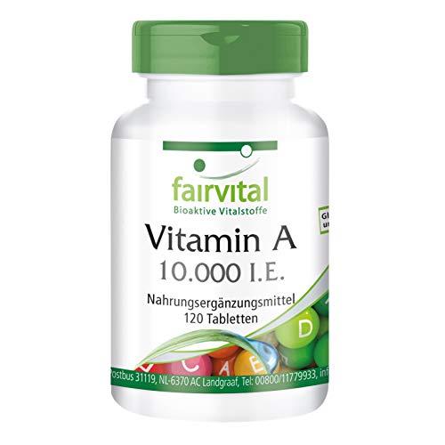 fairvital - 120 pastillas de vitamina A (10.000 I.E.) - Altamente concentrada