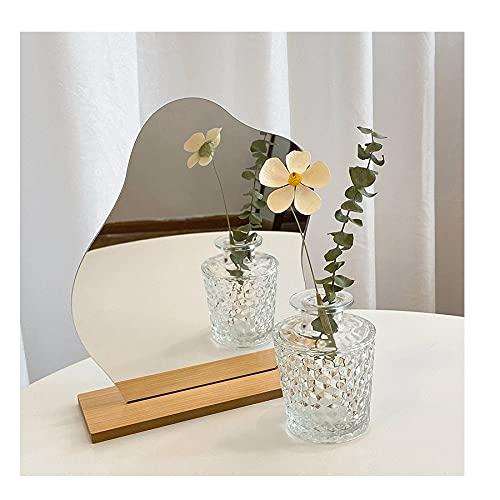 Aroong Espejo de maquillaje irregular con base de madera, para estudiantes, para decoración de escritorio