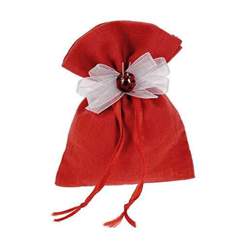 Bonboniere DIY Kit Gastgeschenk Abschlussfeier Rot komplett mit Beutel Dekoration Packung mit 30 Stück