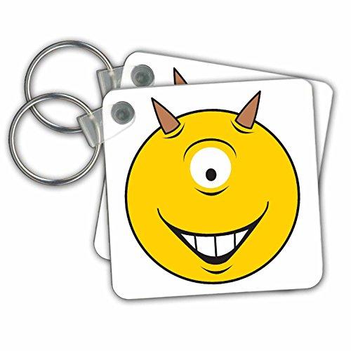 3dRose Grappig Condoom Geel Smiley Gezicht - Sleutelhangers, 2,25-inch, Set van 2 Sleutelhangers, 6 cm, Varies