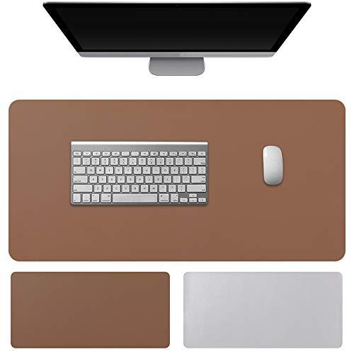 KUAO Schreibtischunterlage 80*40cm Mauspad Groß Braun/Silbrig, Doppelseitige Rutschfest Laptop/PC Leder Tischunterlage, Multifunktionales Office Game Mousepad Wasserdichte Zweiseitig für Büro Zuhause