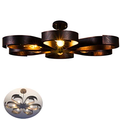 Deckenleuchte Vintage Metall Industrie Lampen Rustikal Deckenlampe für Landhaus Schlafzimmer Küchen Wohnzimmer Esstisch Leuchte Esszimmer Schwarz Ring Antik Design Decken Licht Loft, 6 flammig L60cm