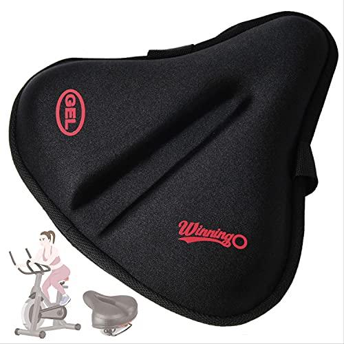 WINNINGO Bike Seat Cushion, 10.2 x 11 in Wide Gel Exercise Bike Seat Cover for Women Men...