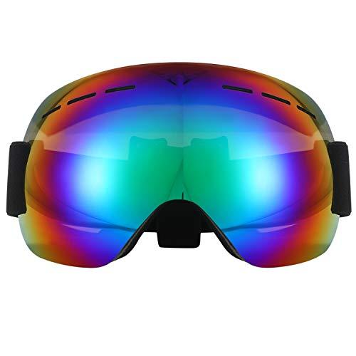 Aroncent Lunettes sphériques de Ski Snowboard Alpinisme Anti-Brouillard Anti-Vent Protection UV Yeux Homme Femme Réglable Couleur au Choix Vert