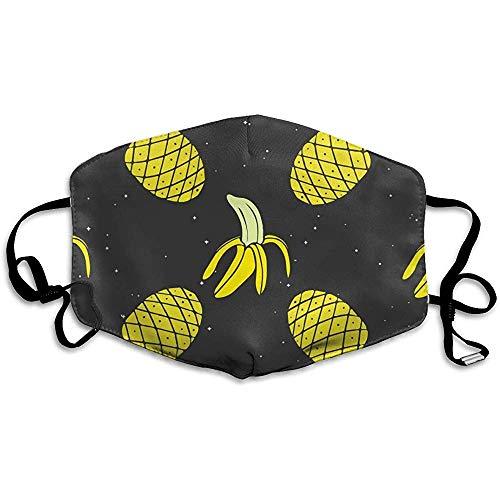 Half Gezicht Mond Masker Mode Kostuum Masker voor Halloween Kerstmis Verjaardag Partij Ananas Banaan Geel Patroon