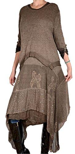 Italy Donna Damen Winter Twinset 2tlg Lagenlook lang Tunika Maxi Kleid Strickkleid Pullover Wolle 44 46 48 50 L XL XXL Beige Pailletten (46)