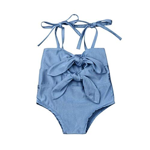 xiaofeng214 Los niños de la niña Sólido Arco-Nudo de Traje de baño Traje de baño del Bikini de Trajes de baño (Color : Blue, Size : 0 to 6M)