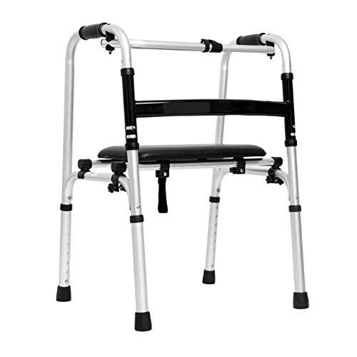 XJZHAN Mit Rädern und Gehhilfe für den Sitz, zusammenklappbar, leichte Unterarmstütze, Walker, leichtes Aluminium,color2,51x47x73cm