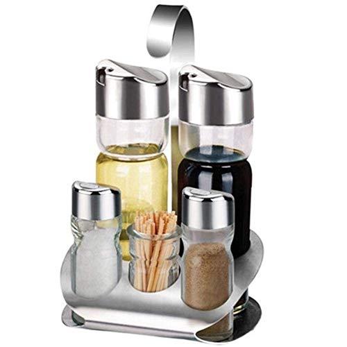 5 Stück Menage Set mit stand. Edelstahl Küche Spice Flaschen Set. Anti-staub Feuchtigkeit-Beweis Lagerung Kanister. für Salz Pfeffer Öl Essig. mit Zahnstocher Box