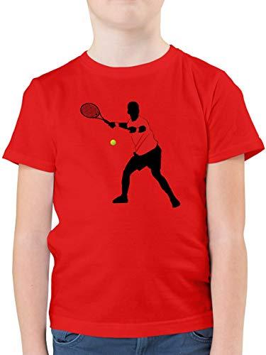 Sport Kind - Tennis Vorhand - 140 (9/11 Jahre) - Rot - Rundhals - F130K - Kinder Tshirts und T-Shirt für Jungen